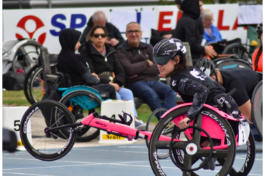 Olivia Gallagher wheelchair racing at the track