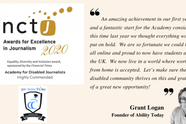 Image of NCTJ Excellence Awards and ADJ logo with written quote by Grant Logan alongside his black and white head shot