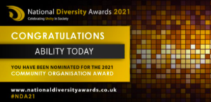 Banner in Gold and black with Congratulations Ability Today you have been nominated for 2021 Community Organisation Award in white text